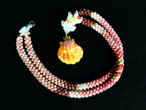 Kahelelani Rope Necklace with Sunrise Shell Locket