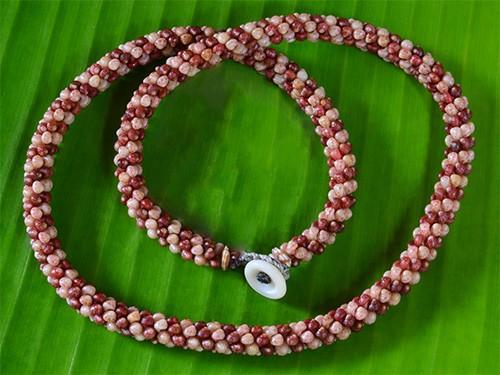 Striped Kahelelani Shell Rope Necklace