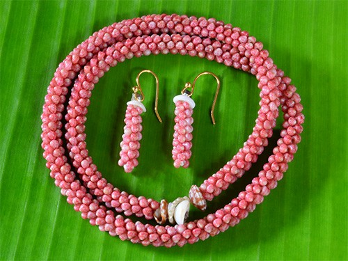 Solid Pink Kahelelani Shell Rope Necklace & Earrings
